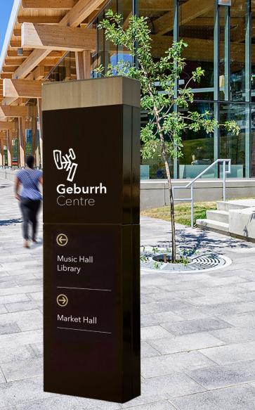 Concept idea of Geburrh Centre Street Signage